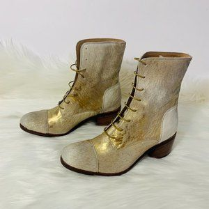 Frye Pony Hair Gold Foil Ankle Combat Boots 6.5